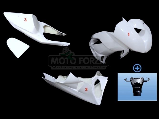 Kawasaki ZX-6R Ninja 2009-2012 Komplettsatz 5-teilig racing OP, GFK - CONVERSION SET for ZX6R 636 2013-